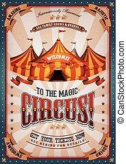 ouderwetse , circus, poster, met, groot bovenst