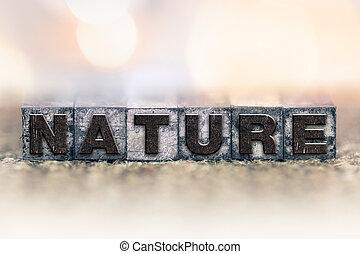 ouderwetse , concept, type, letterpress, natuur