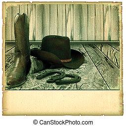 ouderwetse , cowboy, achtergrond, kaart, op, oud, papier, voor, tekst