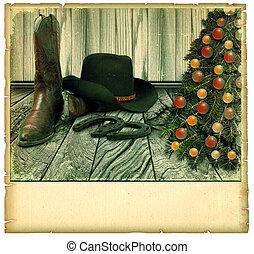 ouderwetse , cowboy, kerstmis, card.american, achtergrond, op, oud, papier, voor, tekst