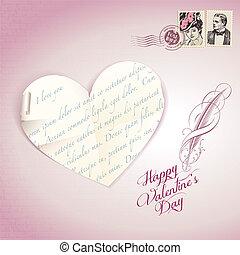 ouderwetse , dag, kaart, valentine