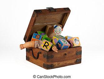 ouderwetse , de doos van het stuk speelgoed, met, blokjes