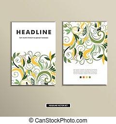 ouderwetse , dekking, flowers., vector, ontwerp, boek
