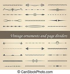 ouderwetse , dividers, pagina, versieringen