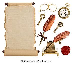 ouderwetse , document rol, en, antieke , accessoires