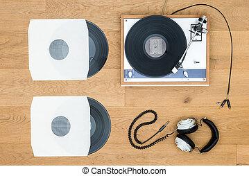 ouderwetse , draaischijf, en, verslag, op, wooden table