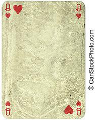 ouderwetse , eenvoudig, achtergrond, :, speelkaart, -, hartenvrouw