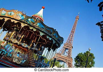 ouderwetse , eiffel, parijs, frankrijk, toren, draaimolen