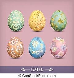 ouderwetse , eitjes, set, pasen