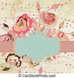 ouderwetse , elegant, hartjes, frame, met, roses., eps, 8