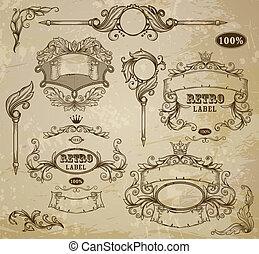 ouderwetse , elements:, set, embleem, linten