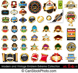 ouderwetse , emblems, moderne, extreem, collection.