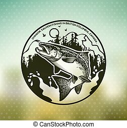 ouderwetse , emblems, salmon, visserij
