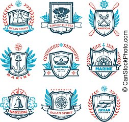 ouderwetse , emblems, set, gekleurde, nautisch