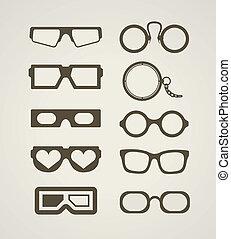 ouderwetse , en, moderne, bril, verzameling
