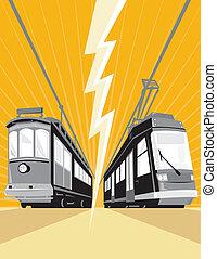 ouderwetse , en, moderne, tram, tram, trein