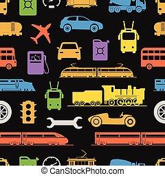 ouderwetse , en, moderne, voertuig, kleur, silhouettes, seamless, achtergrond