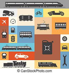 ouderwetse , en, moderne, voertuig, silhouettes, verzameling, op, kleur, pleinen