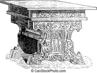 ouderwetse , engraving., eeuw, vijftiende, tafel