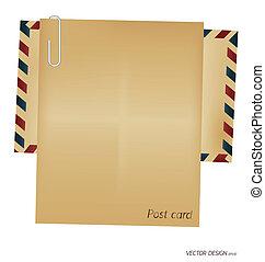 ouderwetse , enveloppe, en, leeg, paper.