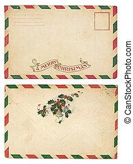 ouderwetse , enveloppe, kerstmis