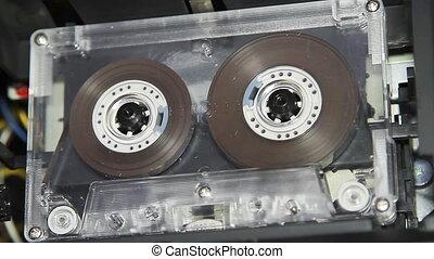 ouderwetse , etiket, cassette, leeg, cassette, witte , audio
