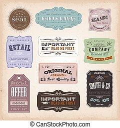 ouderwetse , etiketten, ans, tekens & borden