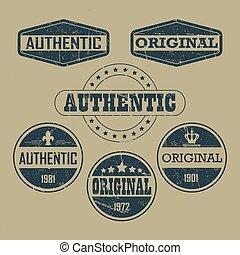 ouderwetse , etiketten, authentiek, origineel