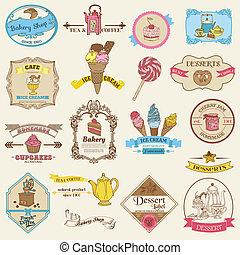 ouderwetse , etiketten, -, bakkerij, vector, ontwerp, dessert, plakboek