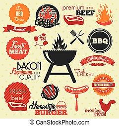 ouderwetse , etiketten, bbq, grill