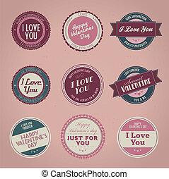 ouderwetse , etiketten, dag, valentine
