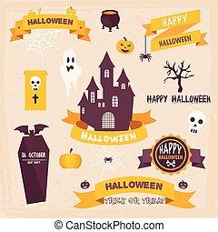 ouderwetse , etiketten, halloween, style., kentekens