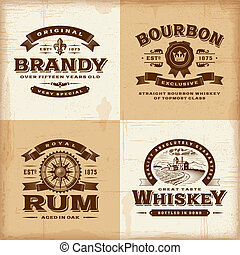 ouderwetse , etiketten, set, alcohol