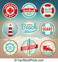 ouderwetse , etiketten, strand, kentekens