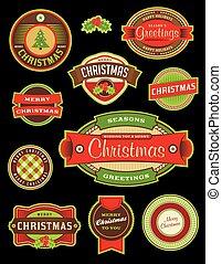 ouderwetse , etiketten, vakantie, kerstmis, kentekens
