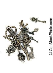 ouderwetse , fantasie, gedetailleerd, gouden, sleutels