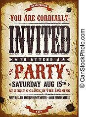ouderwetse , feestje, achtergrond, uitnodiging