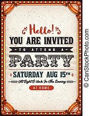 ouderwetse , feestje, kaart, uitnodiging