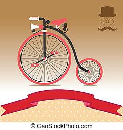 ouderwetse , fiets, illustratie
