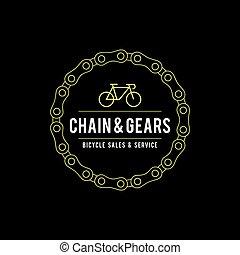 ouderwetse , fiets, illustratie, etiket
