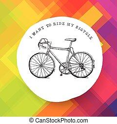ouderwetse , fiets, illustratie, kleurrijke, achtergrond