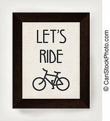 ouderwetse , fiets, illustration., poster