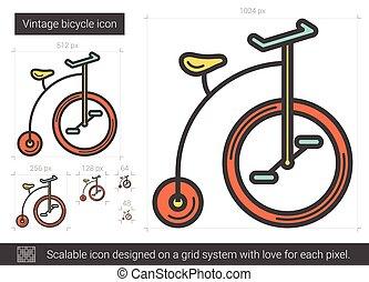 ouderwetse , fiets, lijn, icon.