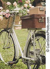 ouderwetse , fiets, op, de, akker