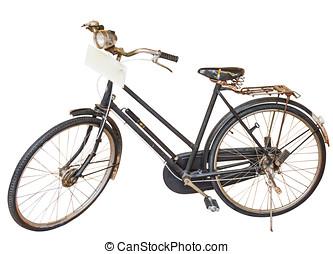 ouderwetse , fiets, op wit, isoleren, backgrond.