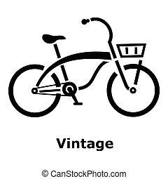 ouderwetse , fiets, pictogram, eenvoudig, stijl