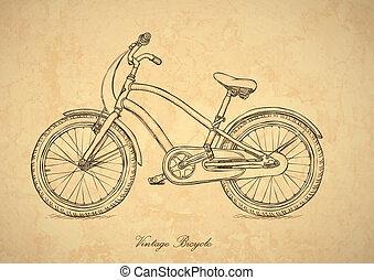 ouderwetse , fiets, -, vector, in, retro stijl