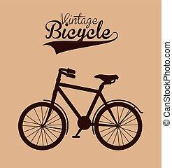 ouderwetse , fiets, vrijstaand, pictogram, ontwerp