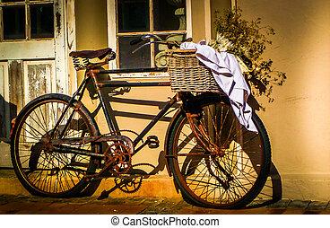 ouderwetse , fiets, zonovergoten
