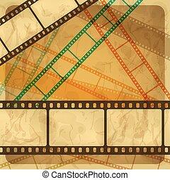 ouderwetse , film, frame., achtergrond, kras